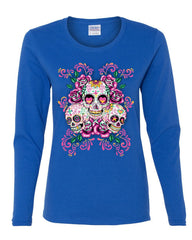 3 Sugar Skulls Women's Long Sleeve Tee Dia de los Muertos Roses Day of the Dead