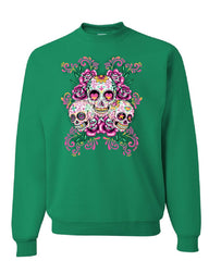 3 Sugar Skulls Sweatshirt Dia de los Muertos Roses Day of the Dead Sweater