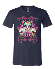 3 Sugar Skulls V-Neck T-Shirt Dia de los Muertos Roses Day of the Dead Tee