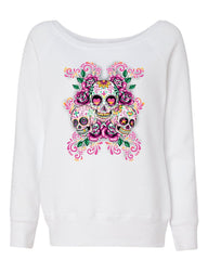 3 Sugar Skulls Women's Sweatshirt Dia de los Muertos Roses Day of the Dead