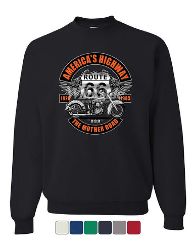 America's Highway Route 66 Sweatshirt The Mother Road Biker Chopper Sweater