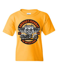 America's Highway Route 66 Youth T-Shirt The Mother Road Biker Chopper Kids Tee