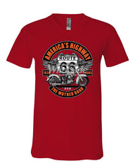 America's Highway Route 66 V-Neck T-Shirt The Mother Road Biker Chopper Tee