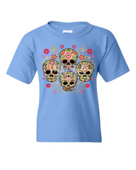 4 Cute Sugar Skulls Youth T-Shirt Calaveras Dia de los Muertos Mexico Kids Tee