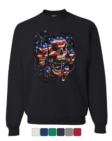 Patriotic Skulls Sweatshirt July 4 Stars And Stripes Barbed Wire Sweater