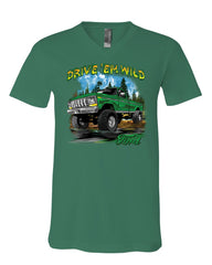 Drive 'Em Wild V-Neck T-Shirt Ford Pickup Trucks F-150 Offroad Mud Ride Tee