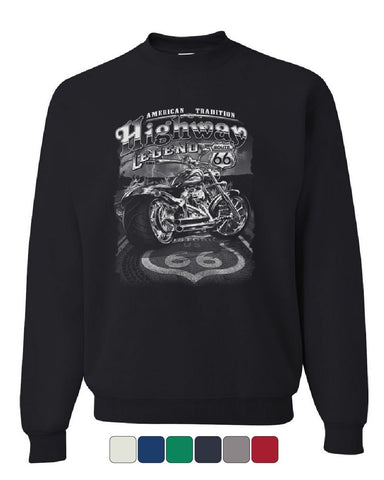 Highway Legend Route 66 Sweatshirt Biker American Tradition Chopper Sweater