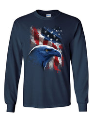 American Bald Eagle Long Sleeve T-Shirt American Flag 4th of July Patriotic Tee