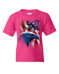 American Bald Eagle Youth T-Shirt American Flag 4th of July Patriotic Kids Tee