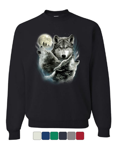 Howling Wolf Pack Sweatshirt Wild Wilderness Animals Nature Moon Sweater