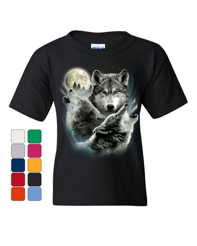 Howling Wolf Pack Youth T-Shirt Wild Wilderness Animals Nature Moon Kids Tee