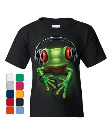 DJ Frog with Headphones Youth T-Shirt Cute Animal Music Wildlife Rock Kids Tee