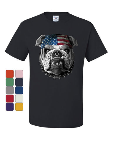 Mean American Bulldog T-Shirt Stars and Stripes Bandana Badass Tee Shirt