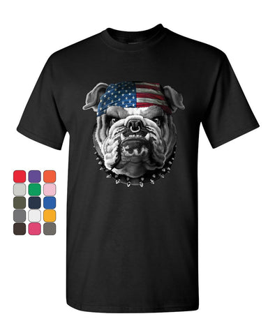 Mean American Bulldog T-Shirt Stars and Stripes Bandana Badass Mens Tee Shirt