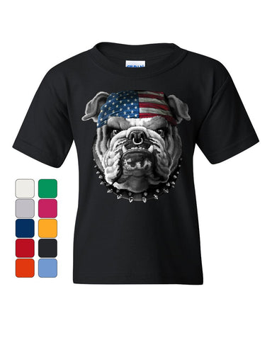 Mean American Bulldog Youth T-Shirt Stars and Stripes Bandana Badass Kids Tee