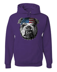 Mean American Bulldog Hoodie Stars and Stripes Bandana Badass Sweatshirt