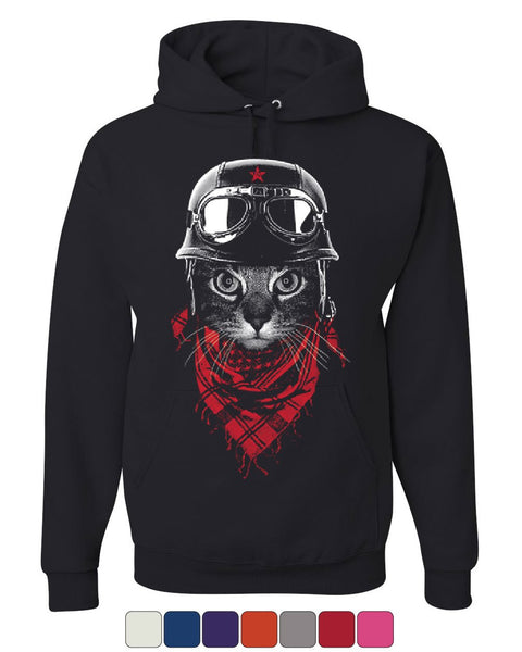 Hardcore Biker Cat Hoodie Adventurer Motorcycle Rider Kitten Sweatshirt