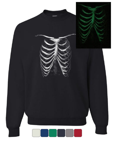 Rib Cage Glow in the Dark Sweatshirt Skeleton Halloween Bones Xray Sweater