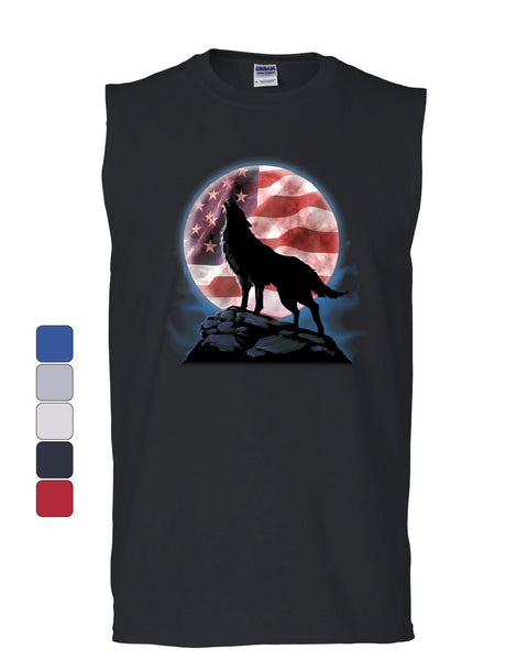 American Howling Wolf Muscle Shirt Wildlife Animal Wolves Wilderness Sleeveless