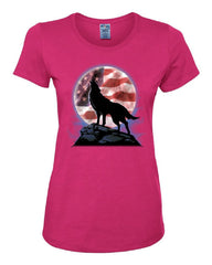 American Howling Wolf Women's T-Shirt Wildlife Animal Wolves Wilderness Tee