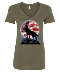 American Howling Wolf Women's V-Neck T-Shirt Wildlife Animal Wolves Wilderness