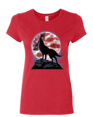 American Howling Wolf Women's T-Shirt Wildlife Animal Wolves Wilderness Shirt