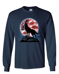 American Howling Wolf Long Sleeve T-Shirt Wildlife Animal Wolves Wilderness Tee