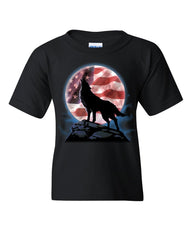 American Howling Wolf Youth T-Shirt Wildlife Animal Wolves Wilderness Kids Tee
