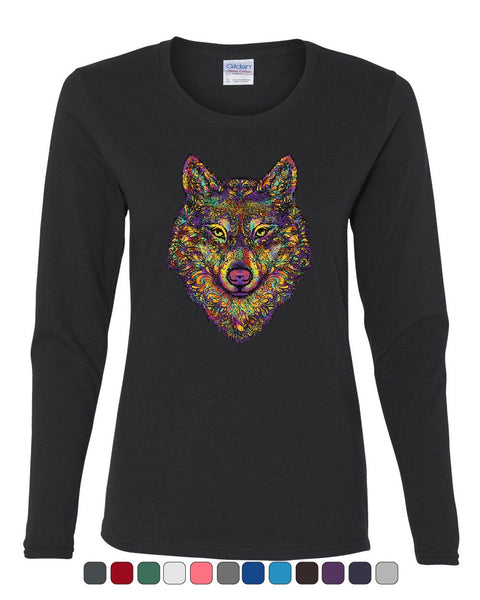 Wolf Head Paisley Women's Long Sleeve Tee Animals Wildlife Howl Predator Wolves