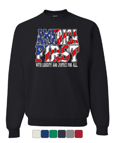 America First Sweatshirt Liberty and Justice for All 4th of July Sweater