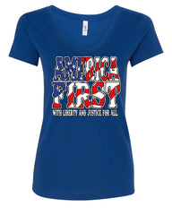 America First Women's V-Neck T-Shirt Liberty and Justice for All 4th of July