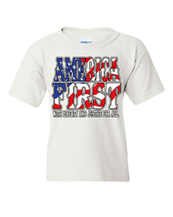 America First Youth T-Shirt Liberty and Justice for All 4th of July Kids Tee