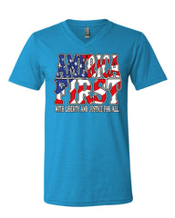 America First V-Neck T-Shirt Liberty and Justice for All 4th of July Tee