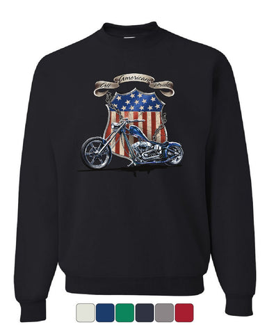 All American Pride Route 66 Sweatshirt Biker Chopper Ride or Die Sweater