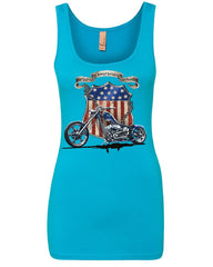 All American Pride Route 66 Women's Tank Top Biker Chopper Ride or Die Top
