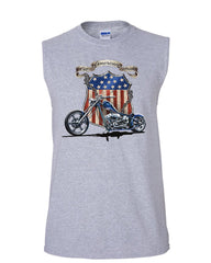 All American Pride Route 66 Muscle Shirt Biker Chopper Ride or Die Sleeveless