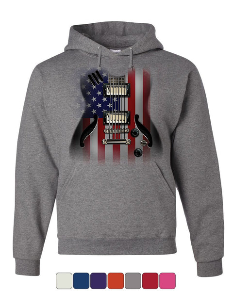 American Flag Guitar Hoodie Rock and Roll Music Art 4th of July Sweatshirt