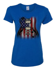 American Flag Guitar Women's T-Shirt Rock and Roll Music Art 4th of July Tee