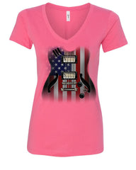 American Flag Guitar Women's V-Neck T-Shirt Rock and Roll Music Art 4th of July