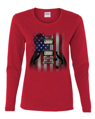 American Flag Guitar Women's Long Sleeve Tee Rock and Roll Music Art 4th of July