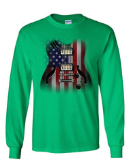 American Flag Guitar Long Sleeve T-Shirt Rock and Roll Music Art 4th of July Tee