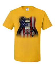 American Flag Guitar T-Shirt Rock and Roll Music Art 4th of July Tee Shirt