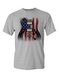 American Flag Guitar T-Shirt Rock and Roll Music Art 4th of July Mens Tee Shirt