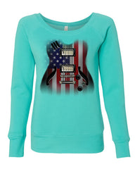 American Flag Guitar Women's Sweatshirt Rock and Roll Music Art 4th of July