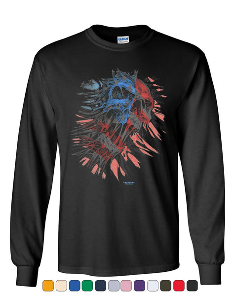 American Flag Evil Skull Long Sleeve T-Shirt Patriotic Scary 4th of July USA Tee