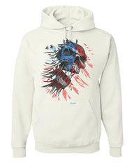 American Flag Evil Skull Hoodie Patriotic Scary 4th of July USA Sweatshirt