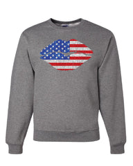 Patriotic Lips Sweatshirt Sexy Kiss Stars and Stripes 4th of July Sweater