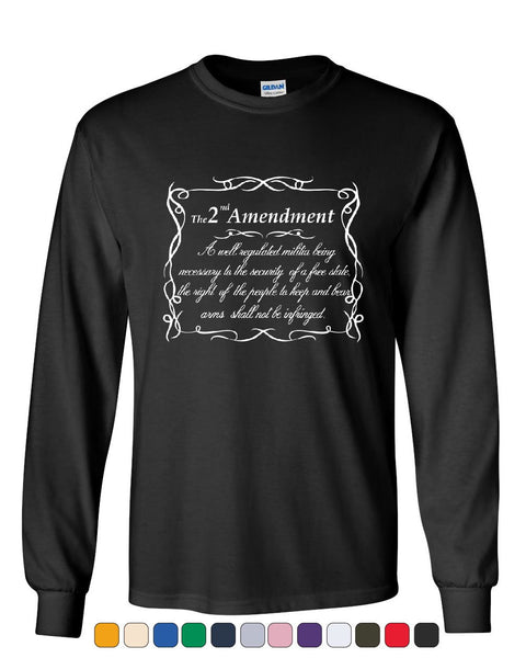 2nd Amendment Long Sleeve T-Shirt Freedom Right to Bear Arms Constitution Tee
