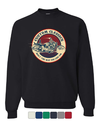 Custom Classics Sweatshirt Chopper Bobber Biker Rte 66 Live to Ride Sweater