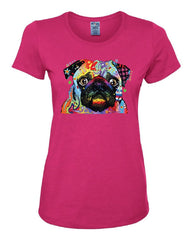Adorable Cute Pug Women's T-Shirt Dean Russo Funny Colorful Neon Pet Pup Tee